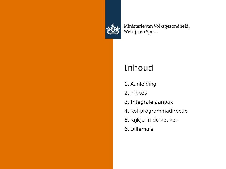 Inhoud Aanleiding Proces Integrale aanpak Rol programmadirectie