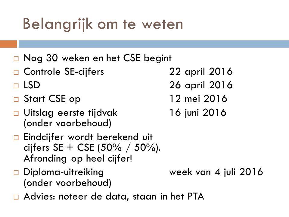 Belangrijk om te weten Nog 30 weken en het CSE begint