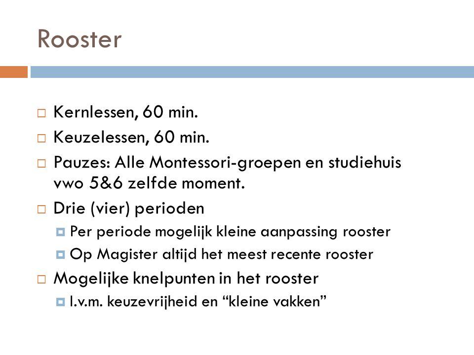 Rooster Kernlessen, 60 min. Keuzelessen, 60 min.