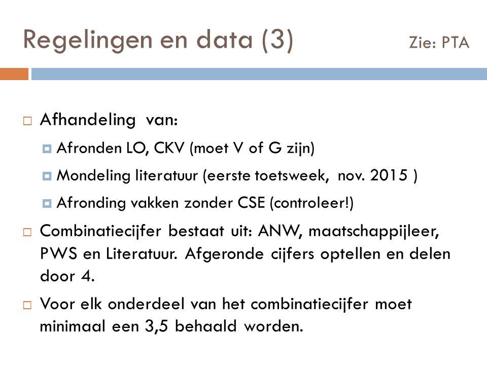 Regelingen en data (3) Zie: PTA