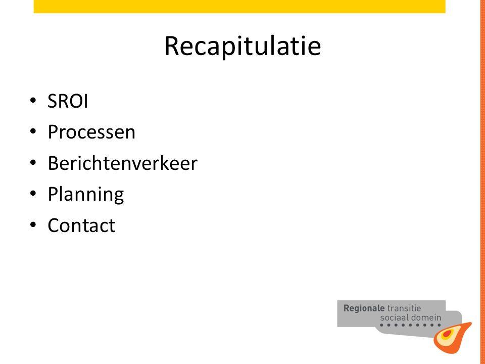 Recapitulatie SROI Processen Berichtenverkeer Planning Contact