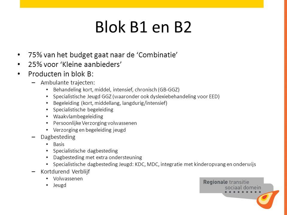 Blok B1 en B2 75% van het budget gaat naar de 'Combinatie'