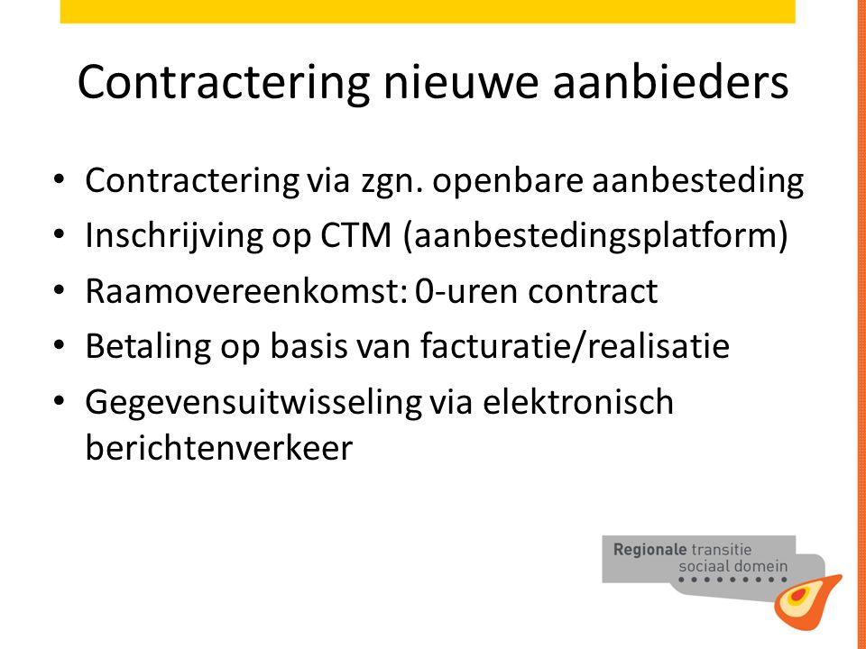 Contractering nieuwe aanbieders