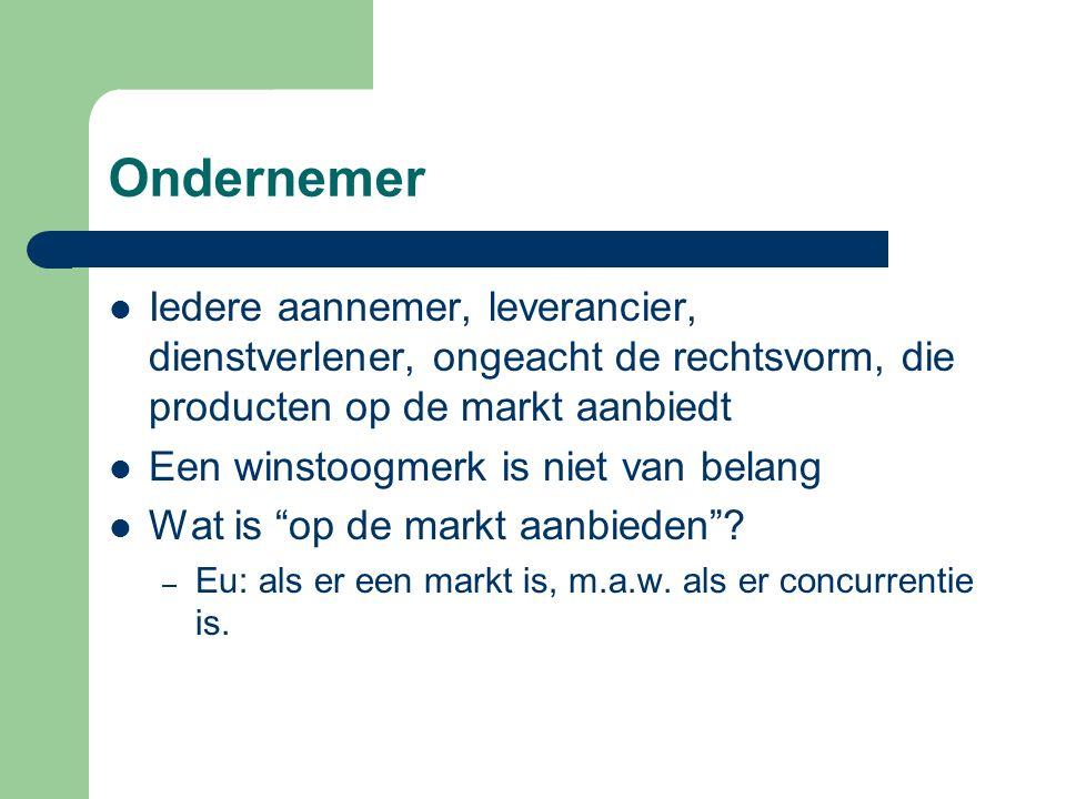 Ondernemer Iedere aannemer, leverancier, dienstverlener, ongeacht de rechtsvorm, die producten op de markt aanbiedt.