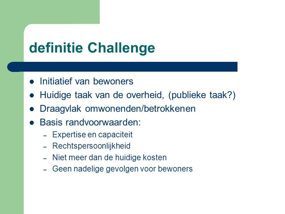 definitie Challenge Initiatief van bewoners