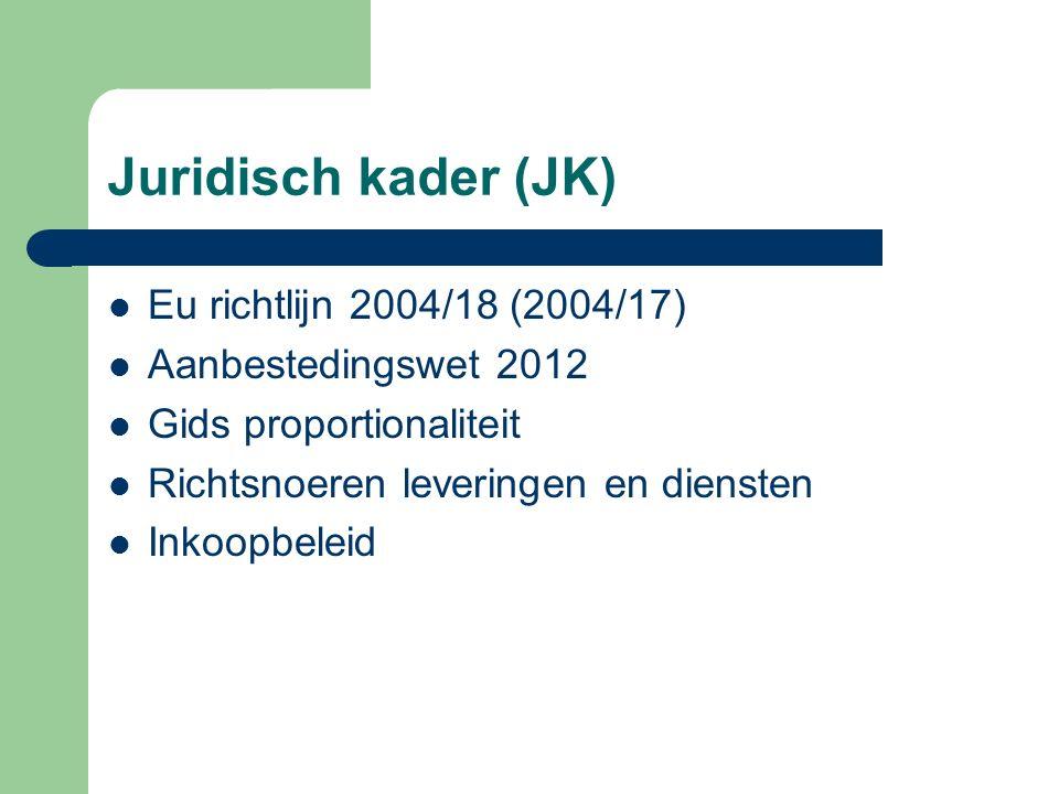 Juridisch kader (JK) Eu richtlijn 2004/18 (2004/17)