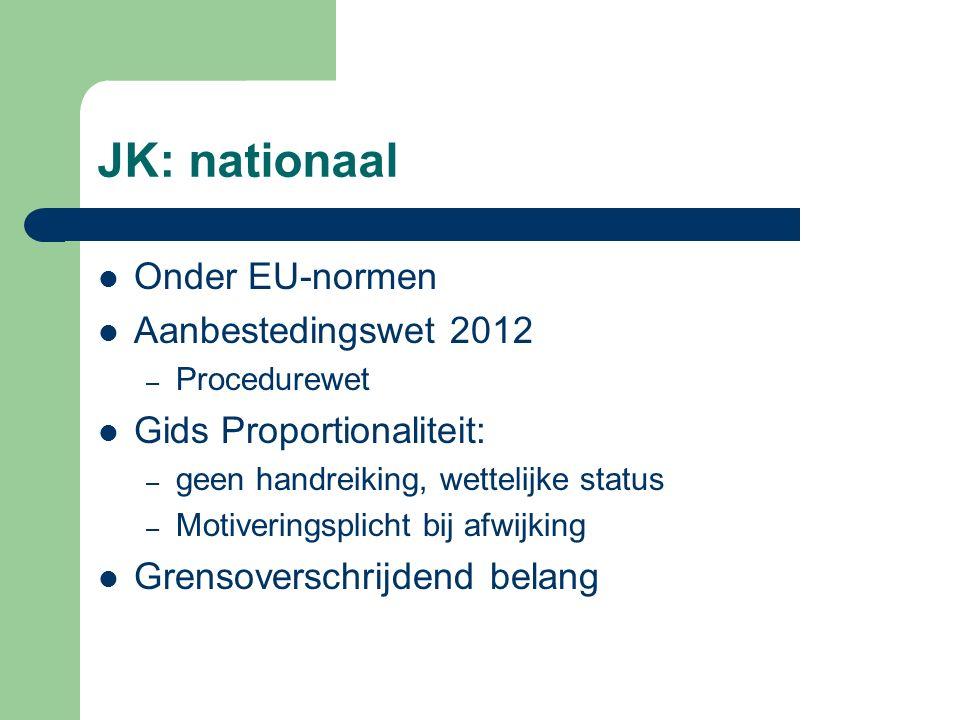 JK: nationaal Onder EU-normen Aanbestedingswet 2012