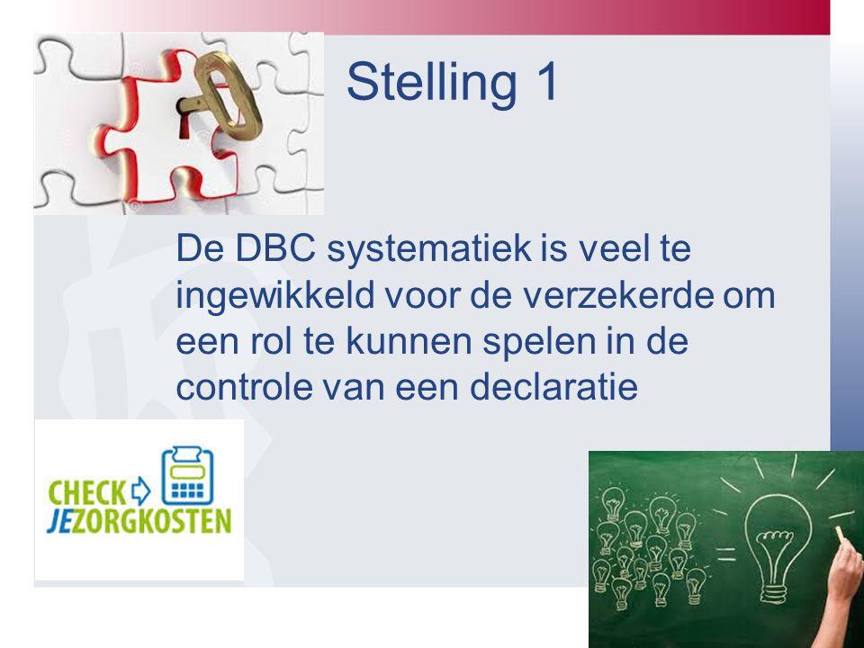 Stelling 1 De DBC systematiek is veel te ingewikkeld voor de verzekerde om een rol te kunnen spelen in de controle van een declaratie.