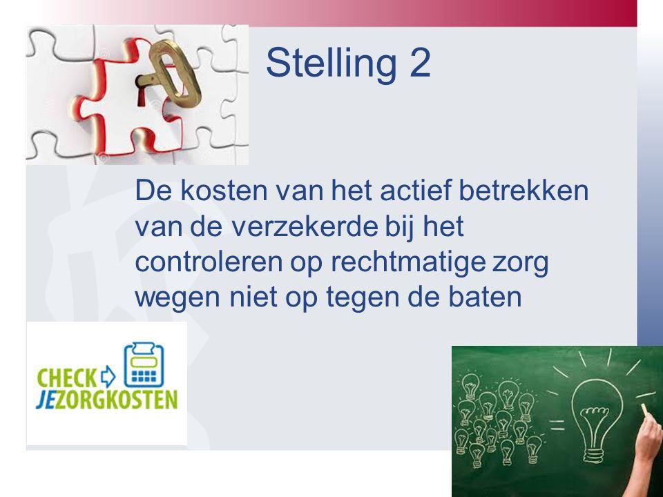 Stelling 2 De kosten van het actief betrekken van de verzekerde bij het controleren op rechtmatige zorg wegen niet op tegen de baten.