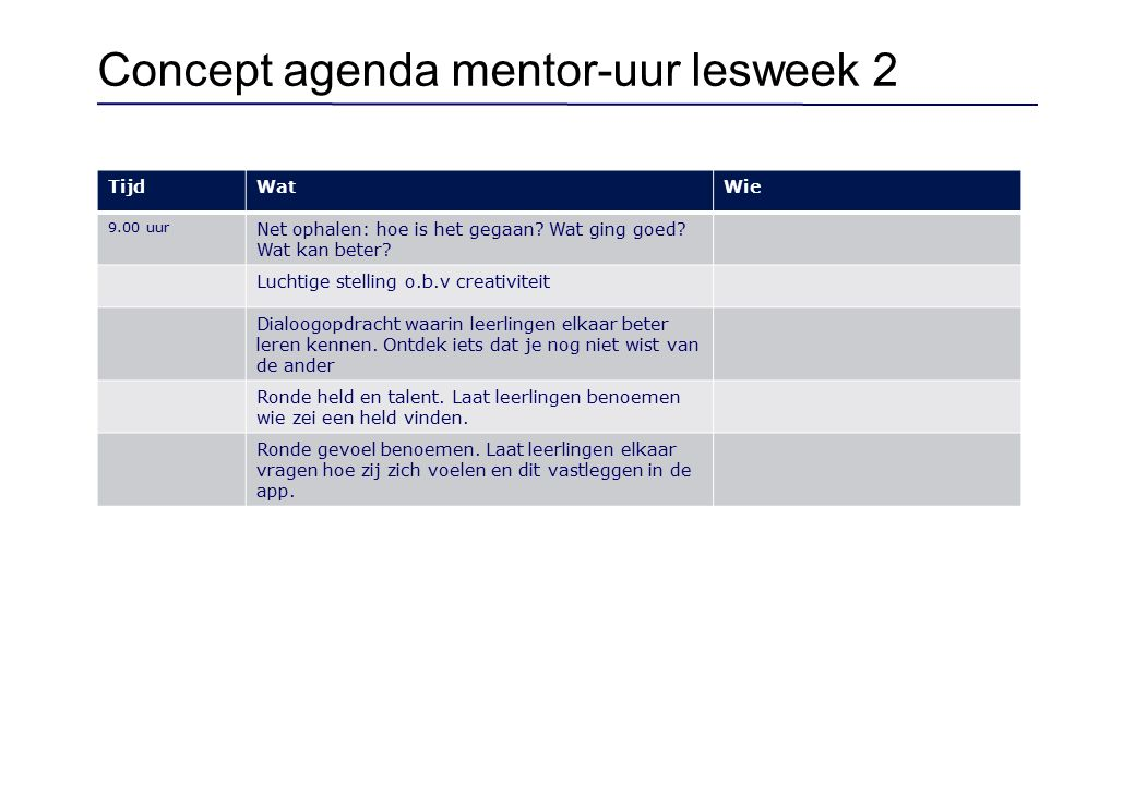 Concept agenda mentor-uur lesweek 3