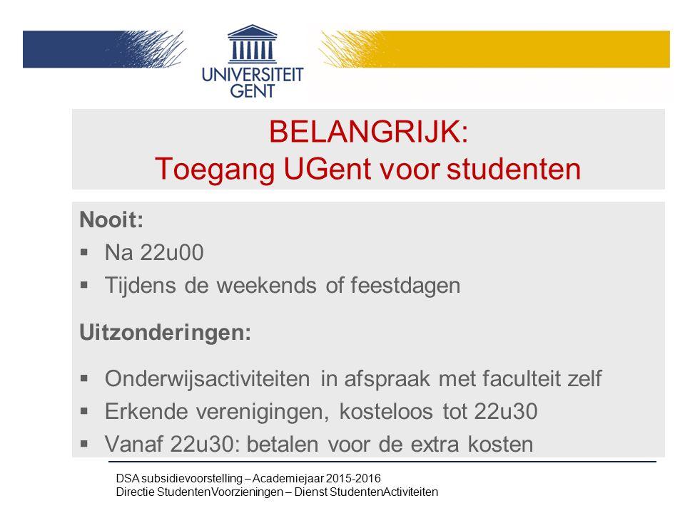 BELANGRIJK: Toegang UGent voor studenten