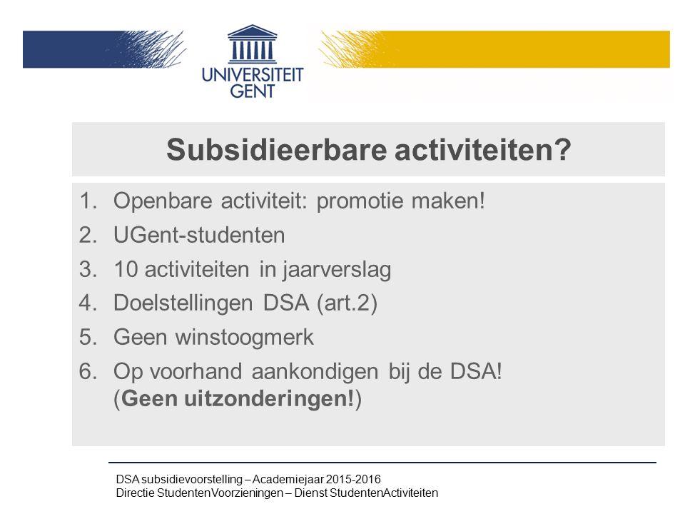 Subsidieerbare activiteiten