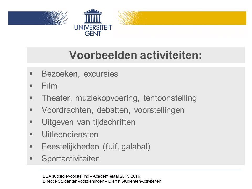 Voorbeelden activiteiten: