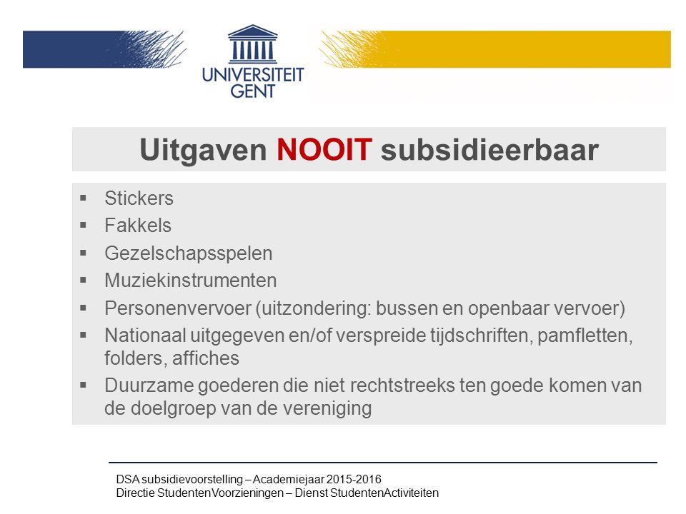 Uitgaven NOOIT subsidieerbaar