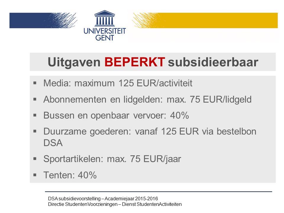 Uitgaven BEPERKT subsidieerbaar