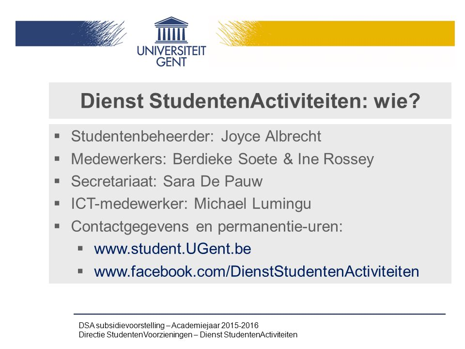 Dienst StudentenActiviteiten: wie