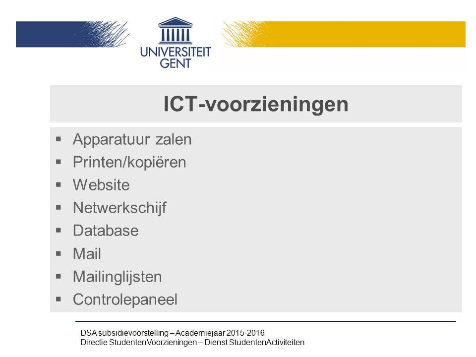 ICT-voorzieningen Apparatuur zalen Printen/kopiëren Website