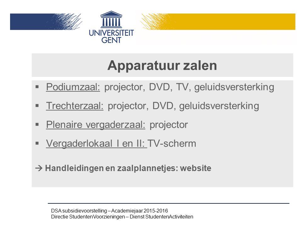Apparatuur zalen Podiumzaal: projector, DVD, TV, geluidsversterking