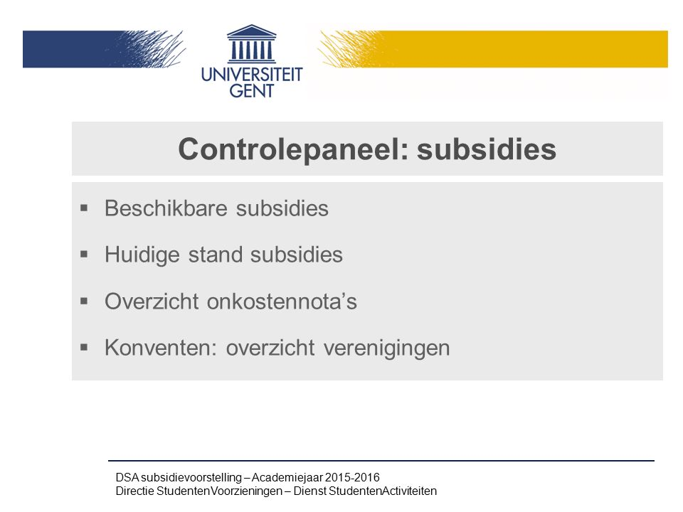 Controlepaneel: subsidies