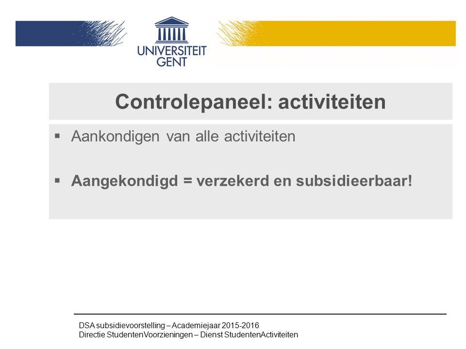 Controlepaneel: activiteiten
