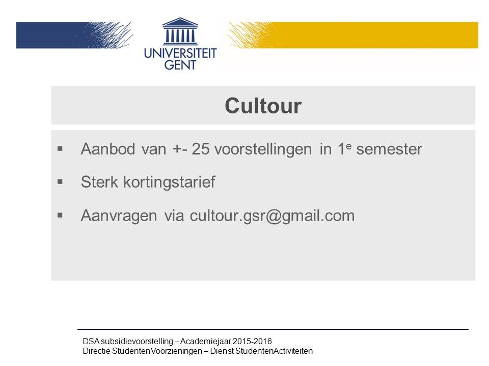 Cultour Aanbod van +- 25 voorstellingen in 1e semester
