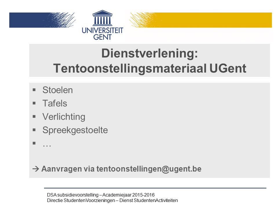 Dienstverlening: Tentoonstellingsmateriaal UGent