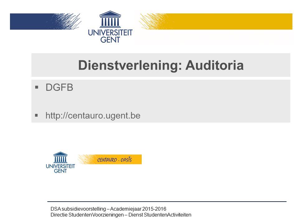 Dienstverlening: Auditoria