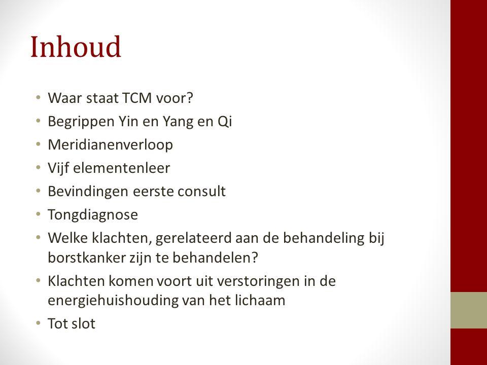 Inhoud Waar staat TCM voor Begrippen Yin en Yang en Qi