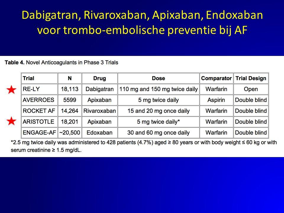 Dabigatran, Rivaroxaban, Apixaban, Endoxaban voor trombo-embolische preventie bij AF