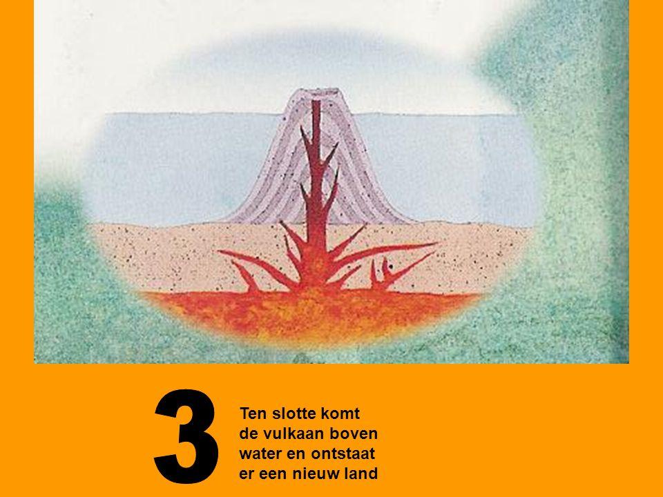 3 Ten slotte komt de vulkaan boven water en ontstaat er een nieuw land