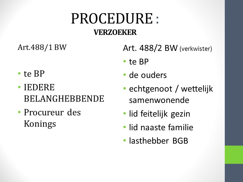 PROCEDURE : VERZOEKER Art. 488/2 BW (verkwister) te BP te BP de ouders