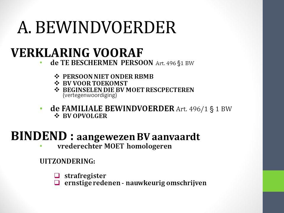 A. BEWINDVOERDER VERKLARING VOORAF BINDEND : aangewezen BV aanvaardt