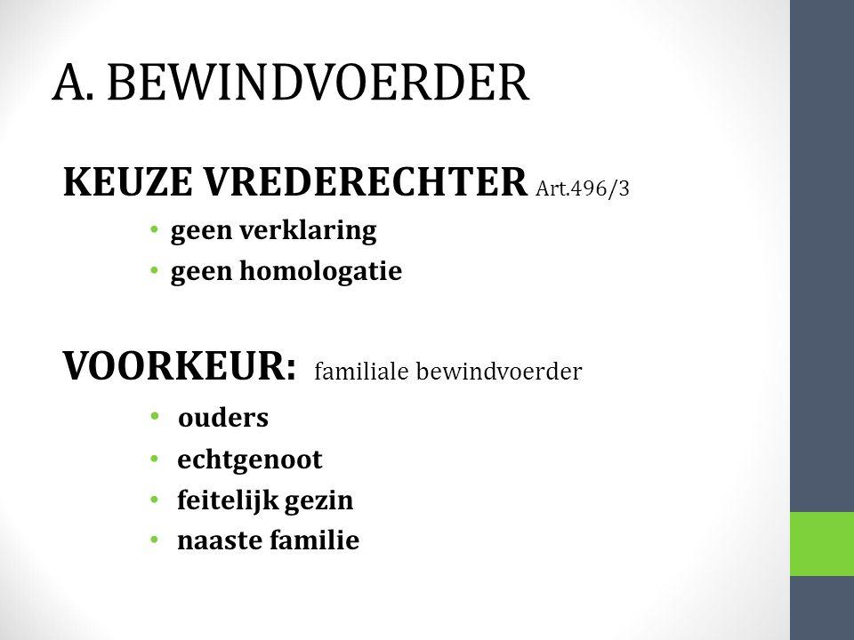 A. BEWINDVOERDER KEUZE VREDERECHTER Art.496/3