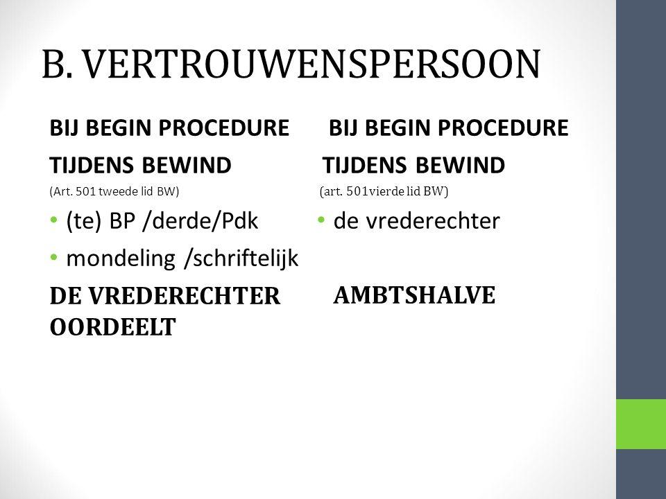 B. VERTROUWENSPERSOON BIJ BEGIN PROCEDURE TIJDENS BEWIND