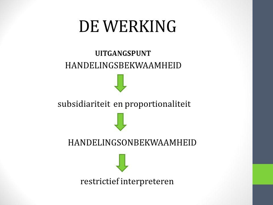 DE WERKING HANDELINGSBEKWAAMHEID subsidiariteit en proportionaliteit