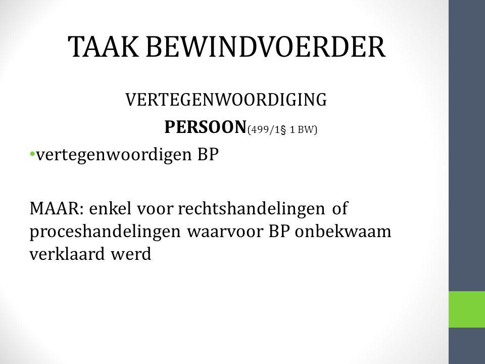 TAAK BEWINDVOERDER VERTEGENWOORDIGING PERSOON(499/1§ 1 BW)