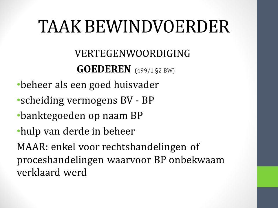 TAAK BEWINDVOERDER GOEDEREN (499/1 §2 BW)