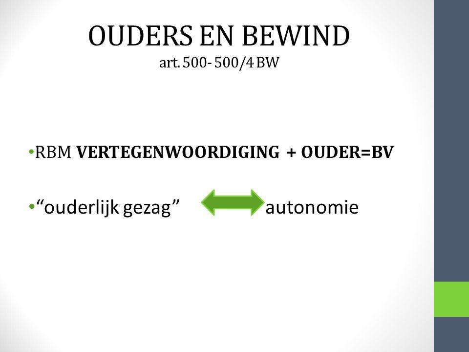 OUDERS EN BEWIND art. 500- 500/4 BW