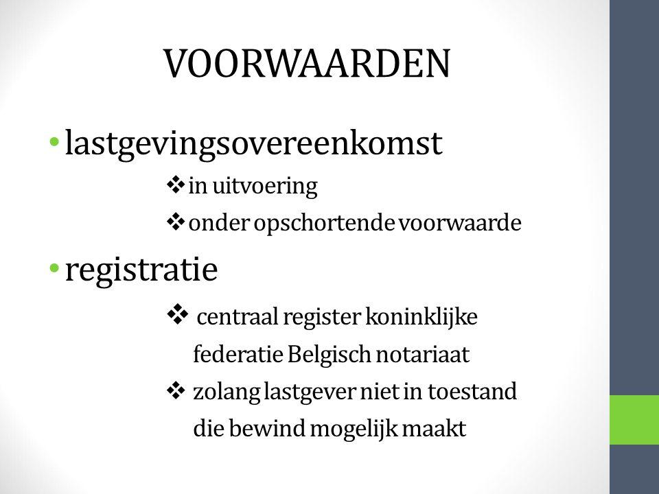 VOORWAARDEN lastgevingsovereenkomst registratie