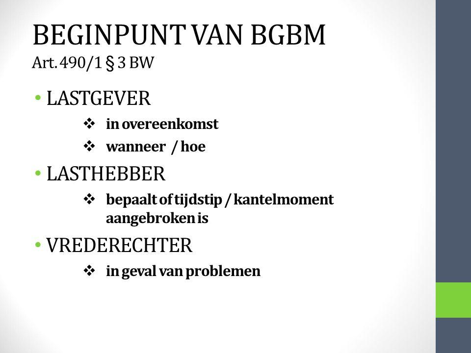BEGINPUNT VAN BGBM Art. 490/1 § 3 BW