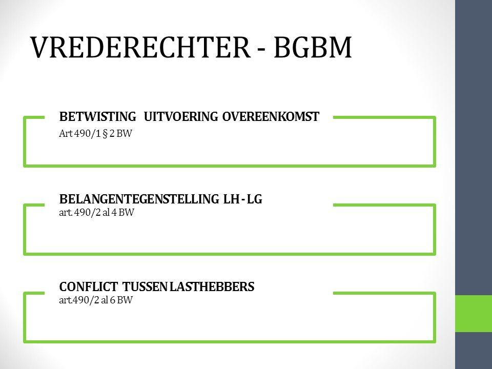VREDERECHTER - BGBM BETWISTING UITVOERING OVEREENKOMST Art 490/1 § 2 BW.