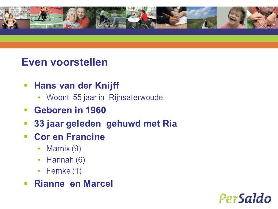 Even voorstellen Hans van der Knijff Geboren in 1960