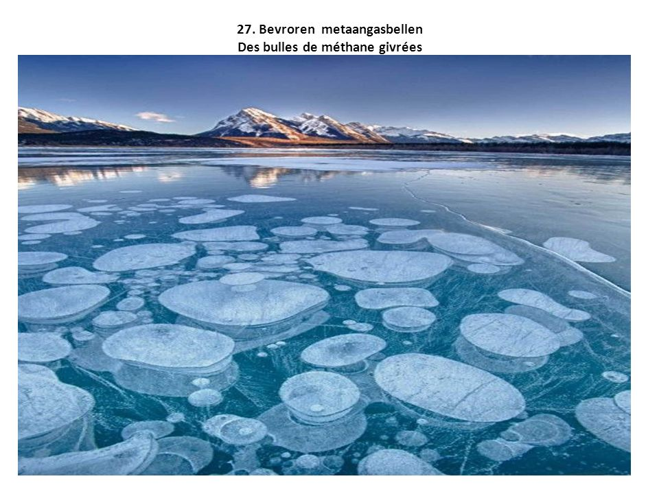 27. Bevroren metaangasbellen Des bulles de méthane givrées