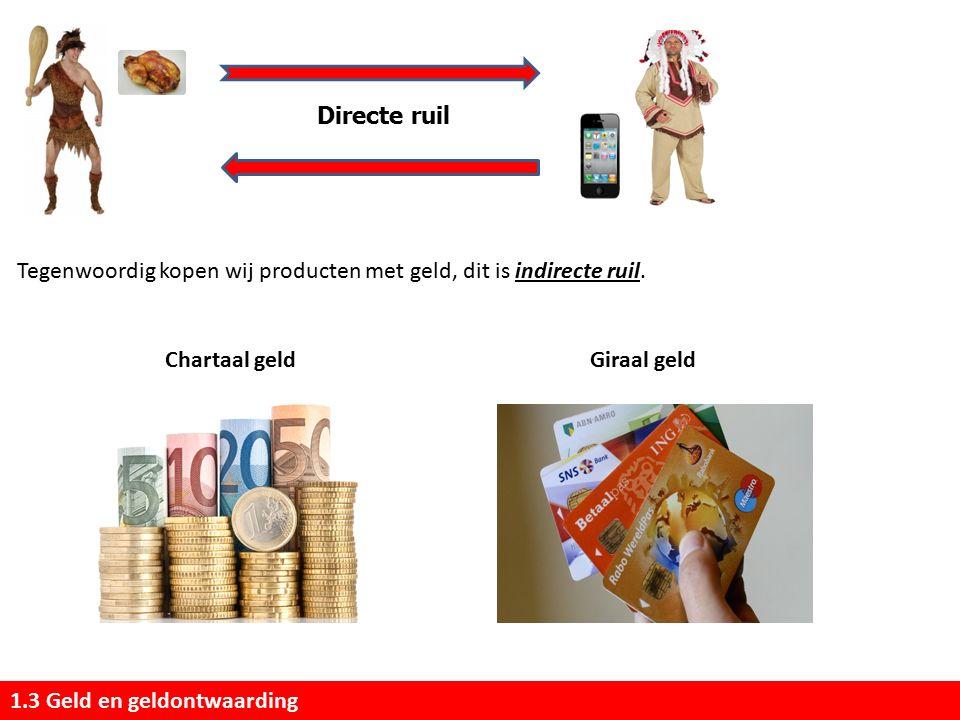 Directe ruil Tegenwoordig kopen wij producten met geld, dit is indirecte ruil. Chartaal geld. Giraal geld.