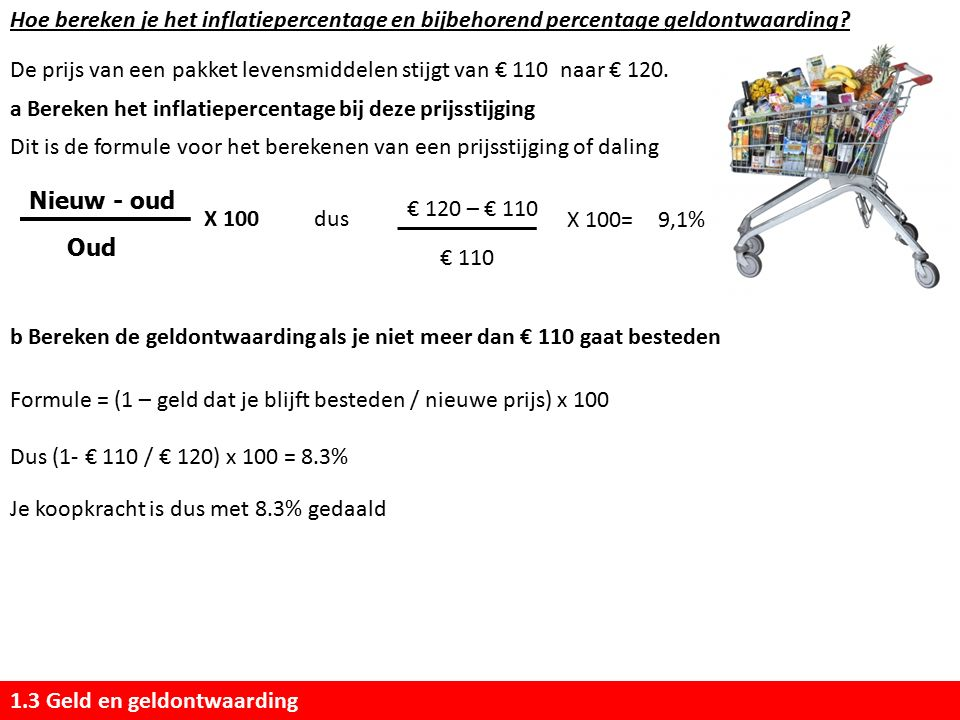 Hoe bereken je het inflatiepercentage en bijbehorend percentage geldontwaarding