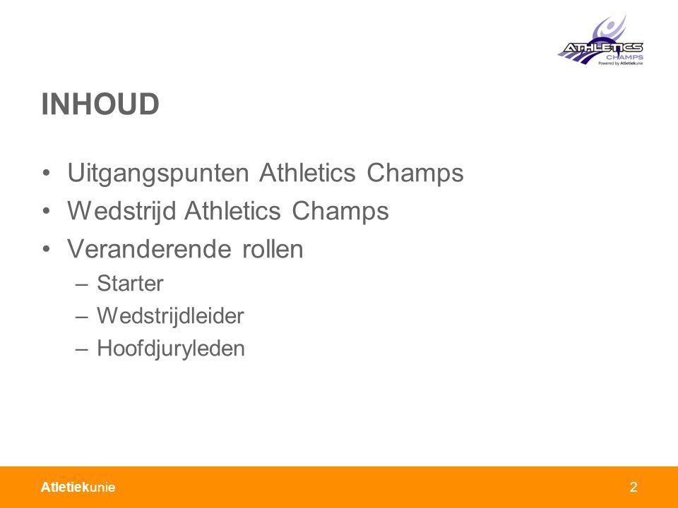 INHOUD Uitgangspunten Athletics Champs Wedstrijd Athletics Champs
