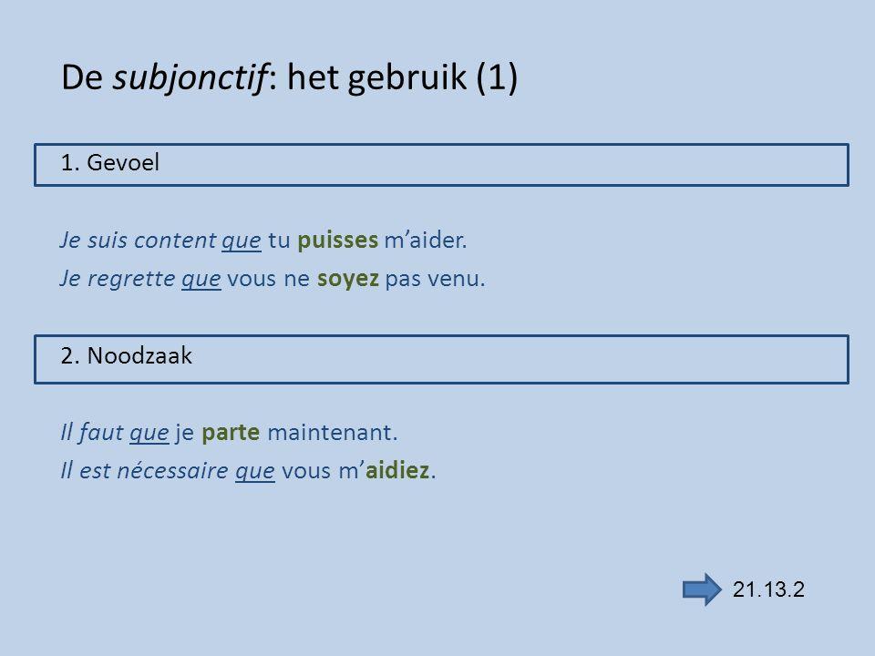 De subjonctif: het gebruik (1)