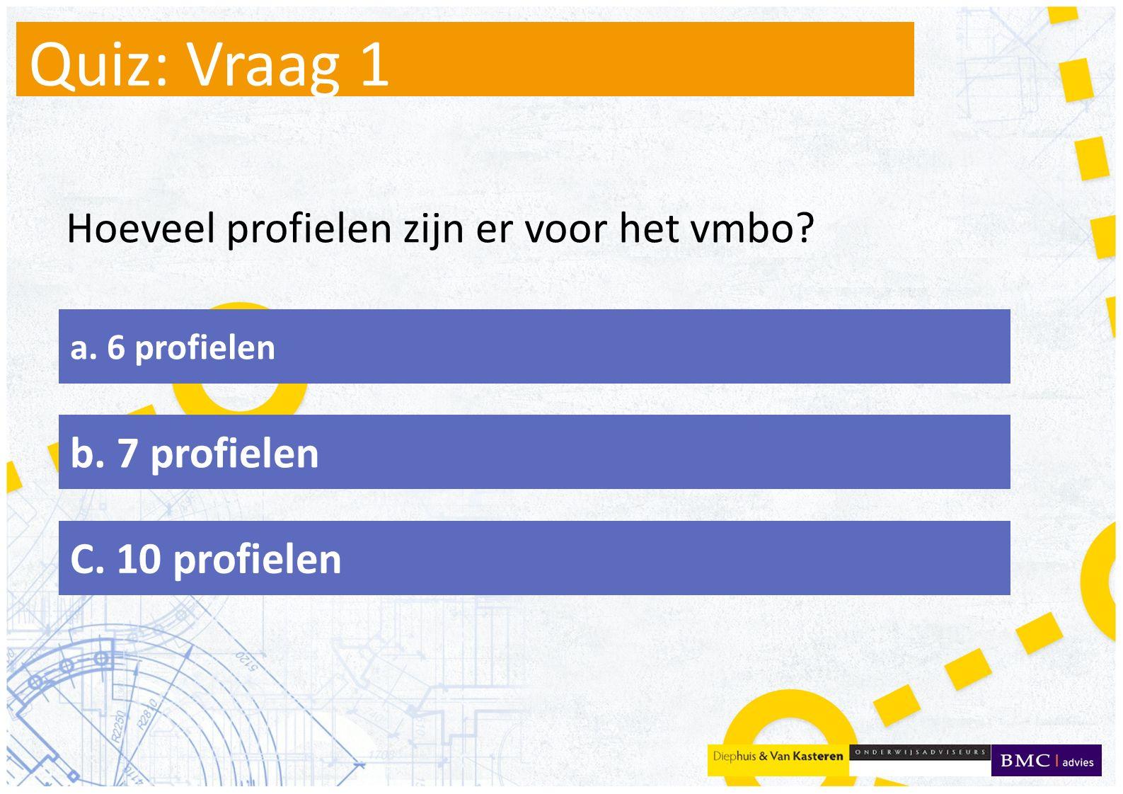 Quiz: Vraag 1 Hoeveel profielen zijn er voor het vmbo b. 7 profielen