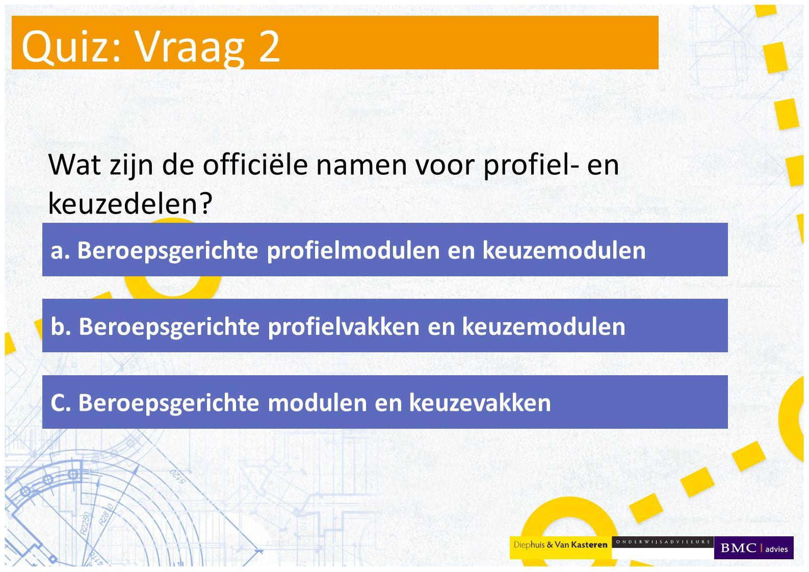 Quiz: Vraag 2 Wat zijn de officiële namen voor profiel- en keuzedelen