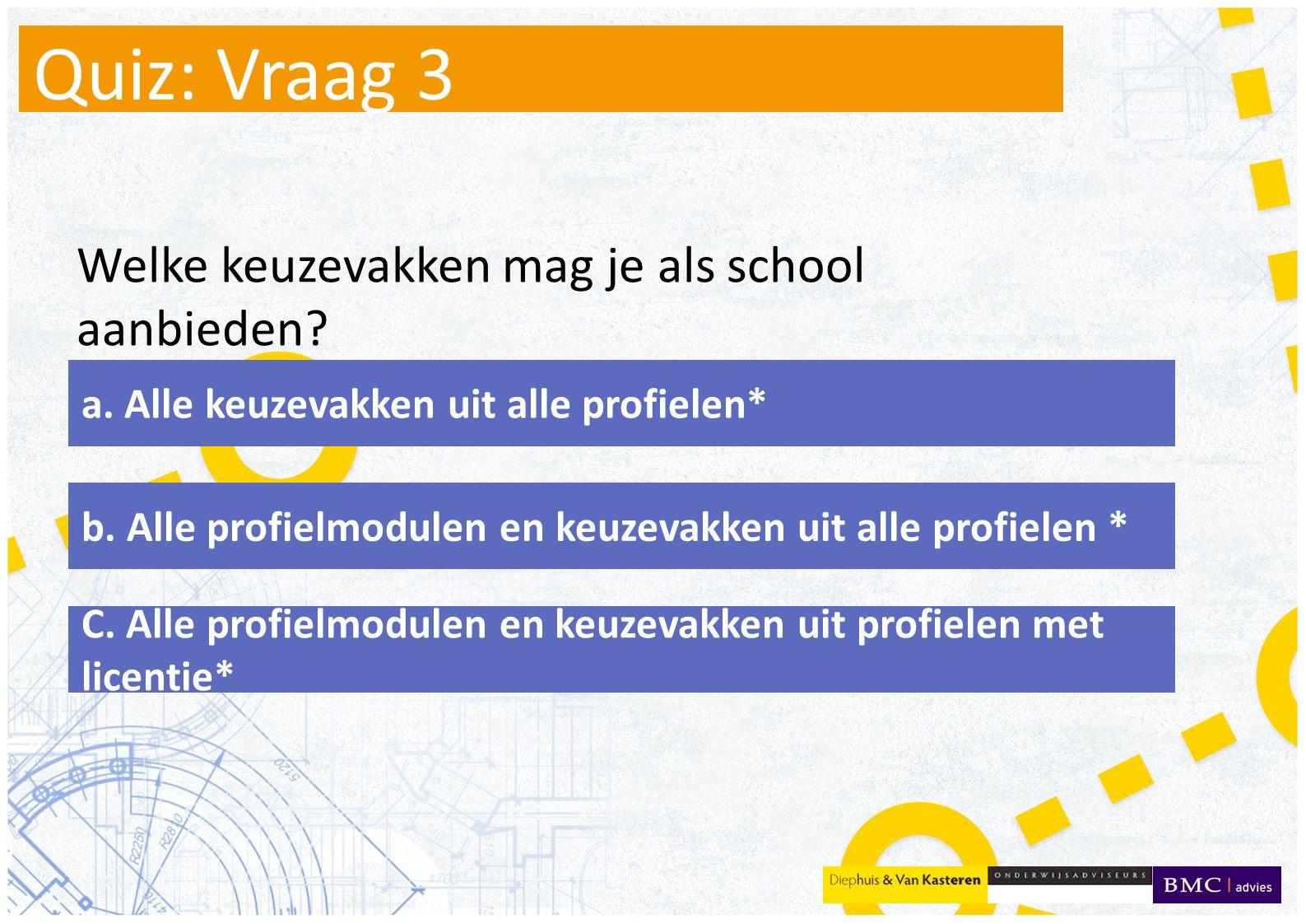 Quiz: Vraag 3 Welke keuzevakken mag je als school aanbieden